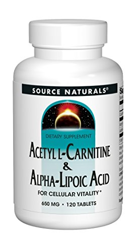 - Source Naturals Acetyl L-Carnitine & Alpha-Lipoic Acid 650mg- 120 Tablets