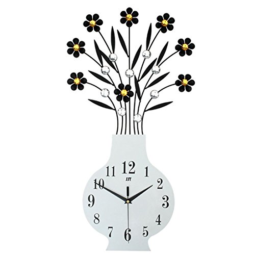 (Magshion 3D Large Flower Vase Design Crystal Iron Wall Clock W/Wall Hooks 30.3