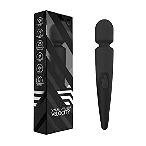 Velocity Waterproof 10 Speed Silicone Wireless Therapeutic Massager Wand (Midnight Black)
