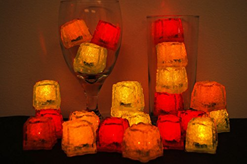 LiteCubes Brand 3 Mode Jewel Color Tinted Fire Pack Theme LED Light Up Ice Cubes- 24 Pack