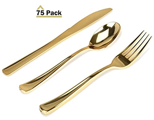Finish Picnic Table - Stock Your Home 75 Piece Plastic Gold Flatware Set, Looks Like Gold Cutlery - Solid, Durable, Heavy-duty Includes: 25 Forks, 25 Knives, 25 Spoons Perfect for Parties, Weddings & Catering Events