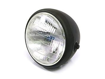 77quot Matt Black Steel 12v 55W Motorbike Headlight Custom Project Cafe Racer Scrambler