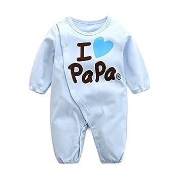 f1f7901e6d521 Limi ベビー 赤ちゃん I love mama papa ロンパース 長袖 カバーオール 100% 綿製 肌着 前