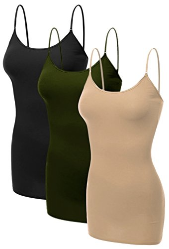 Emmalise Women's Basic Casual Long Camisole Adjustable Strap Cami Layering Top, Medium, 3Pk Black, Olive, Khaki