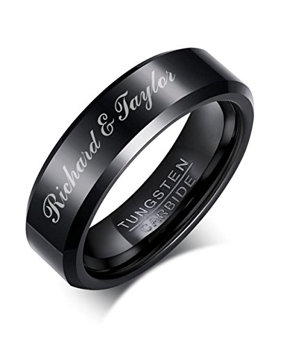 Mealguet Jewelry Personalized Simple Black Tungsten Carbide Tungsten Carbide Ring Polished Custom Name Wedding Anniversary Band for Men,size 11 by Mealguet Jewelry