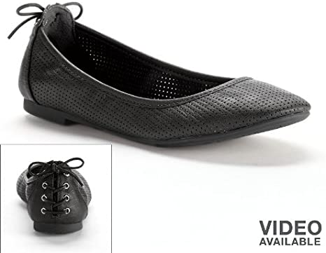SO Black Perforated Ballet Flats