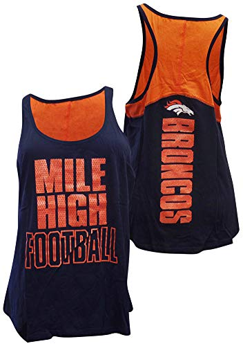 5th & Ocean NFL Denver Broncos Women's Baby Jersey Racer Back Tank Top with Contrasting Colors, Medium, - Ocean 5th & Shorts