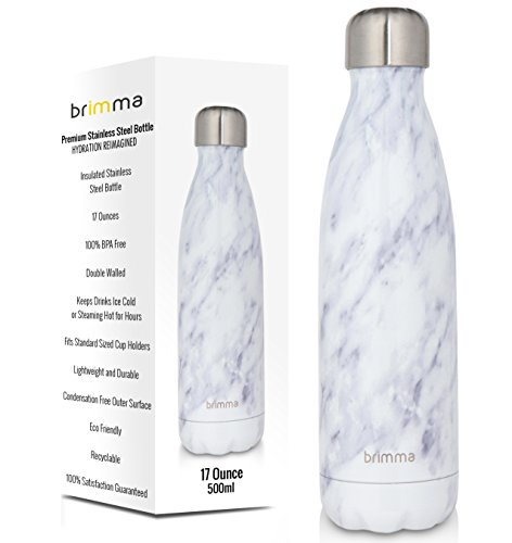 Brimma Vacuum Insulated Water Bottle - Double Walled Stainless Steel Travel Bottle For Hot & Cold Drinks - 100% Sweat & Leak Proof Portable Thermos Flask - 17 Oz (500 ml) (White Marble)