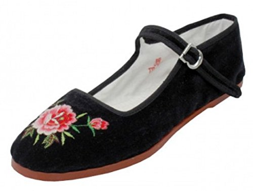 Easy USA Womens Cotton Mary Jane Ballet Flats Shoes 118 Black Embroidered Velvet 7 -