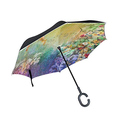 Inverted Umbrella Ivy Flowers Double Layer Reverse Umbrella for Car Windproof UV Protection Big Straight with C-Shaped Handle