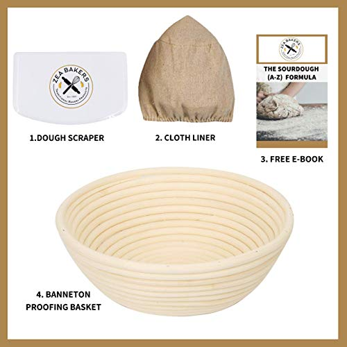 Zea Bakers - Bread Basket, 9 Inch Bread Proofing Basket Set - Includes: Banneton Proofing Basket for Bread Baking, Dough Scraper, Cloth Liner & Free E-Book with Sourdough Starter & Bread Recipe.