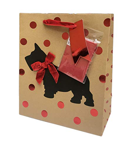Christmas Scottie Dog Adorning Embellished Red Velvet Bow Festive Holiday Party Gift Bag & Red Tissue Paper (10 x 8.5 x 4) - Martha Stewart Tissue Paper