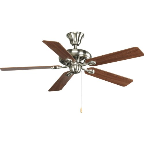Progress Lighting P2521-09 52-Inch Signature 5-Blade Fan with 153 X 18 Reversible Motor, Brushed Nickel