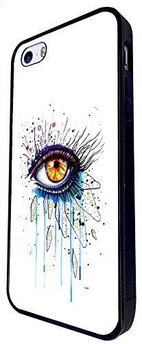 1424 - Cool Fun Trendy Cute Sexy Colourful Eyes Make Up Design iphone SE - 2016 Coque Fashion Trend Case Coque Protection Cover plastique et métal - Noir