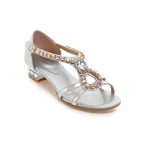 AmoonyFashion Womens Buckle Open Toe Low Heels Blend Materials Solid Sandals Silver hPSP5gAx
