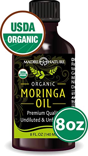 100% USDA Organic Moringa Oil - Highest Quality, Cold-Pressed, Unrefined, non-GMO - Glass Bottle - For Face, Body, and Hair - Food Grade for Oral Consumption (8oz)
