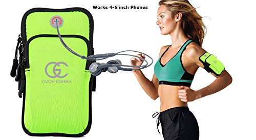 (Sport Armband Case Zippered Fitness Running Arm Band Bag Pouch Jogging Workout Cover For Smartphones (Green))