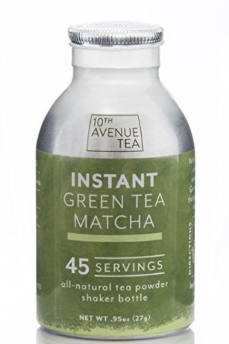 Green Instant Tea (10th Avenue Tea - Natural Instant Tea Powder - Green Tea Matcha - 45 Servings - No Sugar, No Calories, No Preservatives - Instant Hot or Iced Tea)