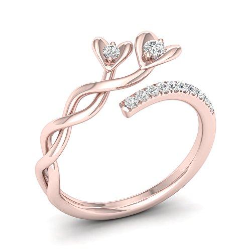 De Couer 10k Gold 1/6 ct TDW Diamond Floral Vine Heart Ring (I-J, I2)