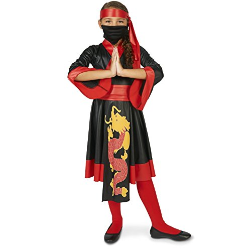 Black and Red Ninja Dress Child Costume M (Red Dress Halloween Outfits)