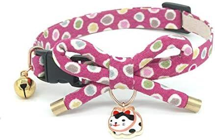 Collar de gato con campana, diseño de lazo con bonito abalorio de gato 1