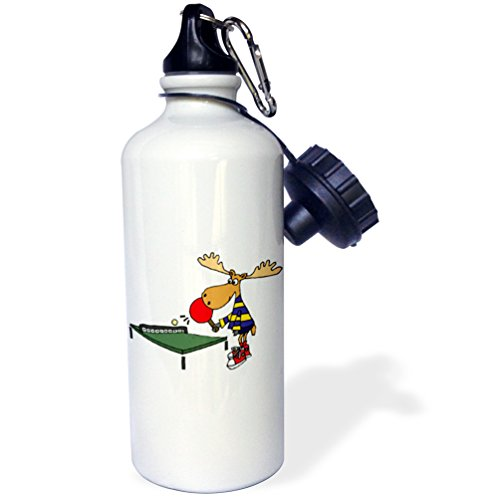 3dRose wb_245396_1 Funny Moose Playing Table Tennis Or Ping Pong Cartoon Water Bottle by 3dRose