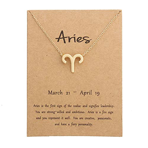 HOLY KT 12 Constellation Zodiac Pendant Necklace Astrology Gold Tone Chain with Gold Message Card for Women Jewelry (Aries) ()
