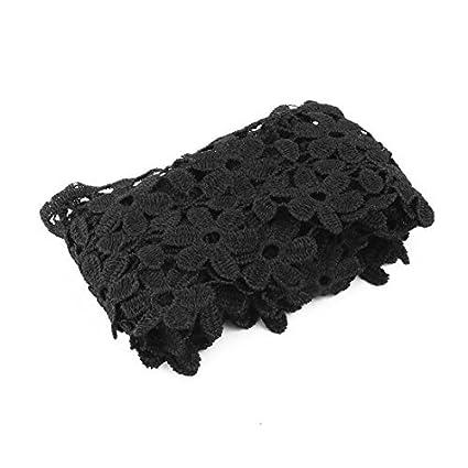 eDealMax Flor de poliéster Diseño Costura de ropa escote ornamento del ajuste del Applique del cordón