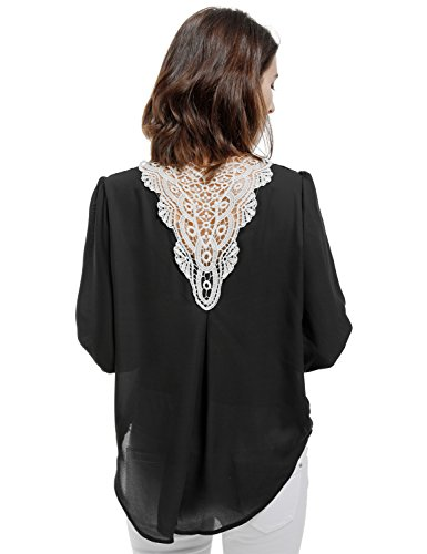 Blooming Jelly Women's Long Puff Sleeve V Neck Back Lace Pleated Hi Low Shirt Blouse Top(M) (Sleeve Top Pleated Puff)