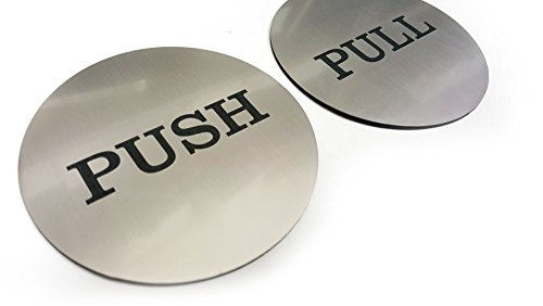 (Push Pull Round Door Sign (Brushed Silver))