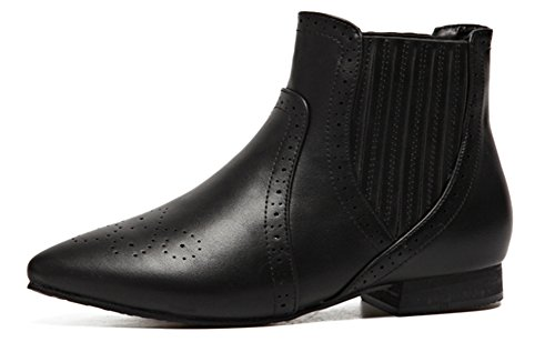Black Fashion QZUnqiue Toe Shoes Boots Pointed Women Soft Ankle Ladies for Flat FPwTqP6