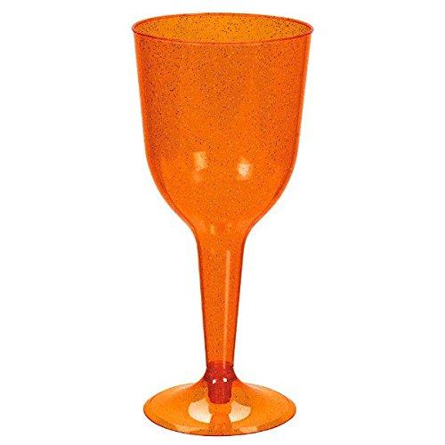 Orange w/ Orange Glitter Plastic Wine