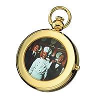 Charles Hubert 3848 reloj de bolsillo con marco de imagen mecánico chapado en oro