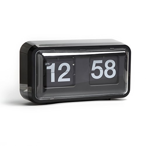 Giant Flip Clock - Auto Flip Clock, 10.5 x 6 x 3.2 inches, Wall Hang / Desktop Clock, Vintage, Noiseless, Decorative with Premium Plastic Moving Clock for Office, Home, Bar, Moden Living Room Decor (Nice Black Cabinet)