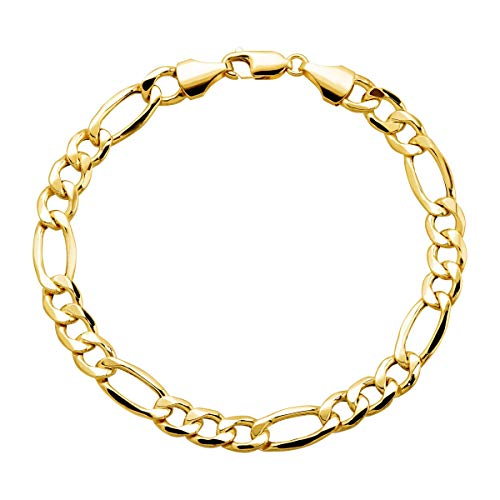 Eternity Gold Men's Figaro Chain Bracelet in 10K Gold