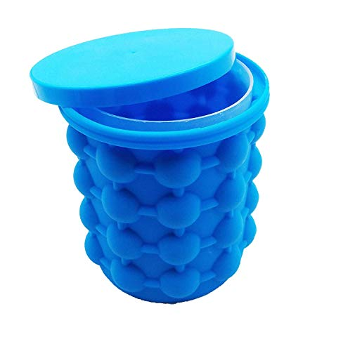 Large Silicone Bucket & Ice Mold with lid Cube Maker (blue)