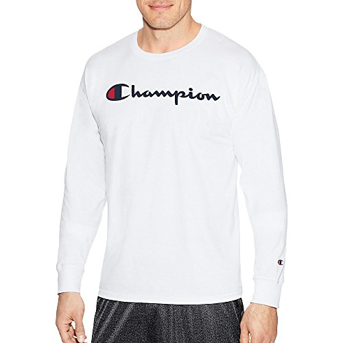 (Champion Men's Classic Jersey Long Sleeve Script T-Shirt, White, LG)