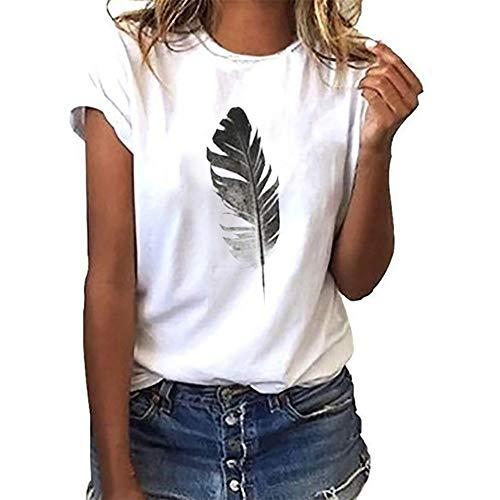 Yaseking Girls Casual Loose T-Shirt, Women O-Neck Feather Print Short Sleeve T-ShirtT Blouse Tops (L, White)