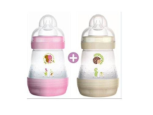 MAM Anti-Colic Baby Bottle 160ml, 0 + Month,1Flow Teat–Set of 2 Random Colors 5123339