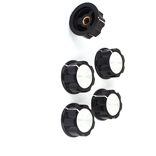 Aexit Plastic 6mm Outlets & Accessories Diameter Shaft Amplifier Rotary Cap Skirted Knob Outlet Switches 5 Pcs (Amplifier Knobs Skirted)