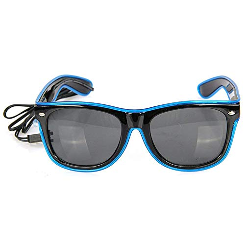 Naisidier LED Luminous Glasses Frame EL Wire Glow Blue Color Flashing Safety Light up Glasses Party Favor Costumes Eyeglasses with Battery Case Controller
