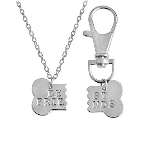 Kebaner 2pcs/Set Dog Bone Shaped Best Friends Necklace Keychain BFF Bones Friendship Jewelry Dog Gift