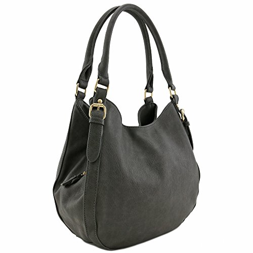 Light-weight 3 Compartment Faux Leather Medium Hobo Bag (Charcoal Grey)