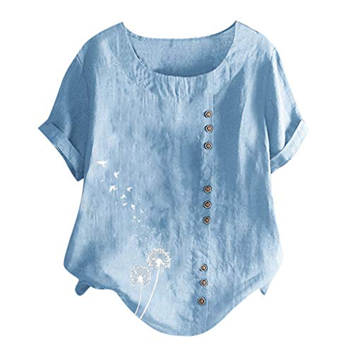 Ximandi Women's Fashion Casual Plus Size O-Neck Dandelion Printed Loose Button Tunic Shirt Blouse Tops Light Blue