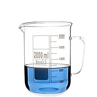 Glass Beaker Mug Cup with Handle 3.3 Borosilicate Glass Lab Glassware Clear, All Size Available in Store (300ml) BIOLIFTS