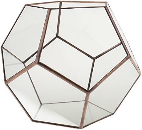 Mini Glas Terrarium Geometrisches Glas Sukkulente Pflanzen Pflanzgefäß Deko - 20 x 20 x 20cm