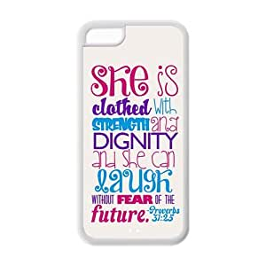 diycover iPhone 5C Case - Bible Verse Proverbs 31:25 - Best Durable Cover Case by runtopwell