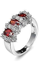 WUGDSQGH Damringar mode 925 sterling silver justerbar ring kubisk zirkon 925 sterling silver strass utsökta personliga smycken vardaglig ring med minimalistisk enkel oval skärning röd för kvinnor