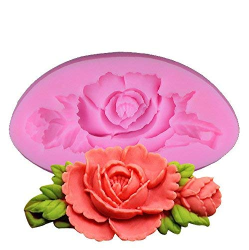 (Peony Flower Leaf Shape Fondant Silicone Mold Sugar Craft Cake Decorating Tool SZRUY-01)