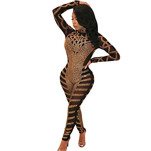 (Cercur Women's Sexy Printed Hot Drilling Mesh See Through Long Sleeve Bodycon Long Jumpsuit Romper)